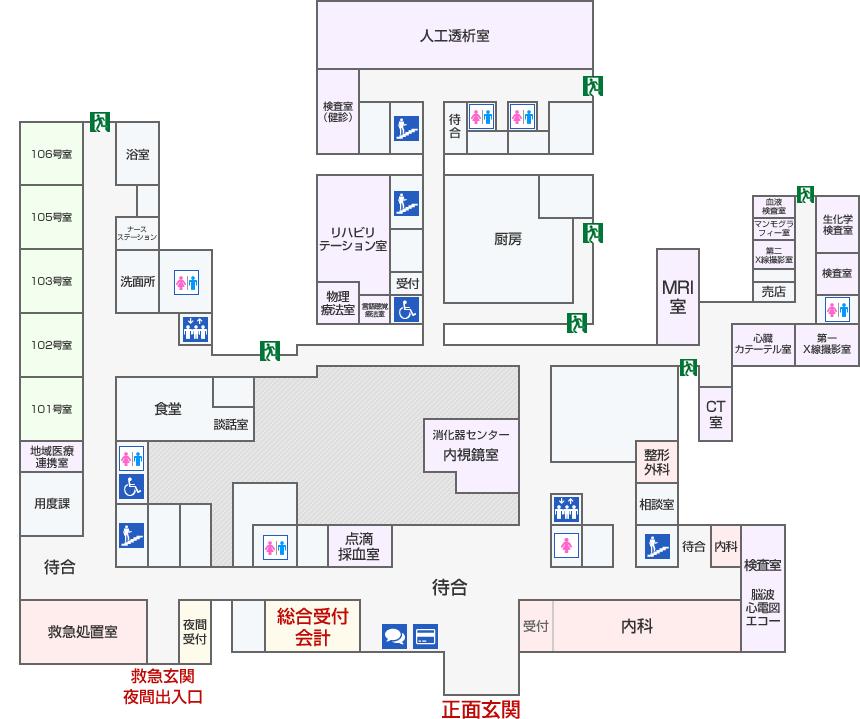 長津田厚生総合病院フロアマップ 1F