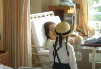病室に入院患者様をお見舞い